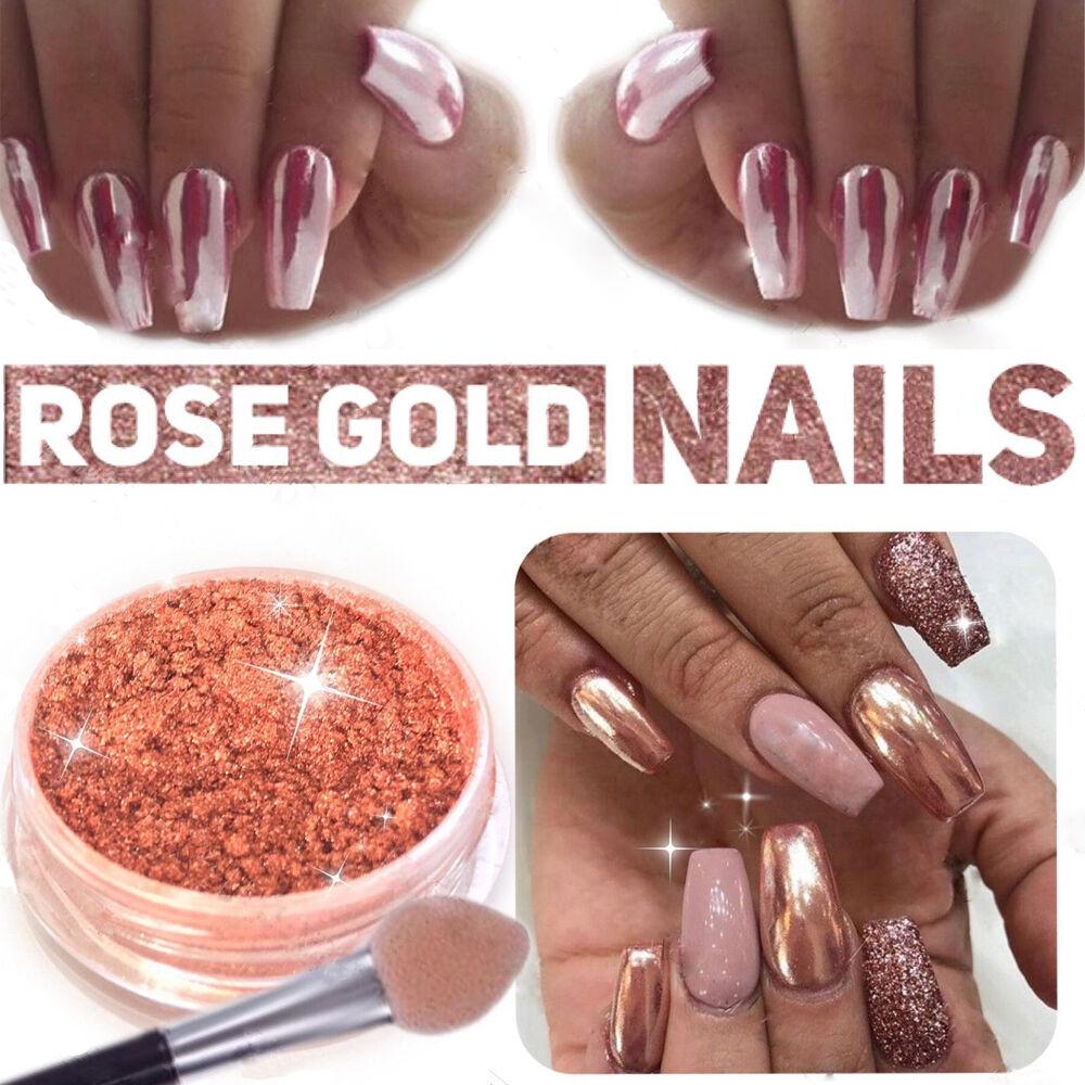 ROSE GOLD KIT Mirror Powder Chrome Effect Nails Silver Pink Powder ...