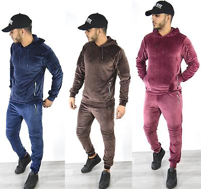 Men/'s Velour Zip Up Designer DS Full Tracksuit Hoody Velvet Jogging Bottoms S-XL