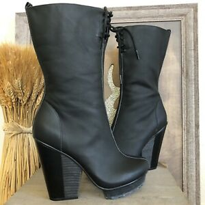 Timo Weiland For Tsubo Black Platform Wedge Heel Boots US 7