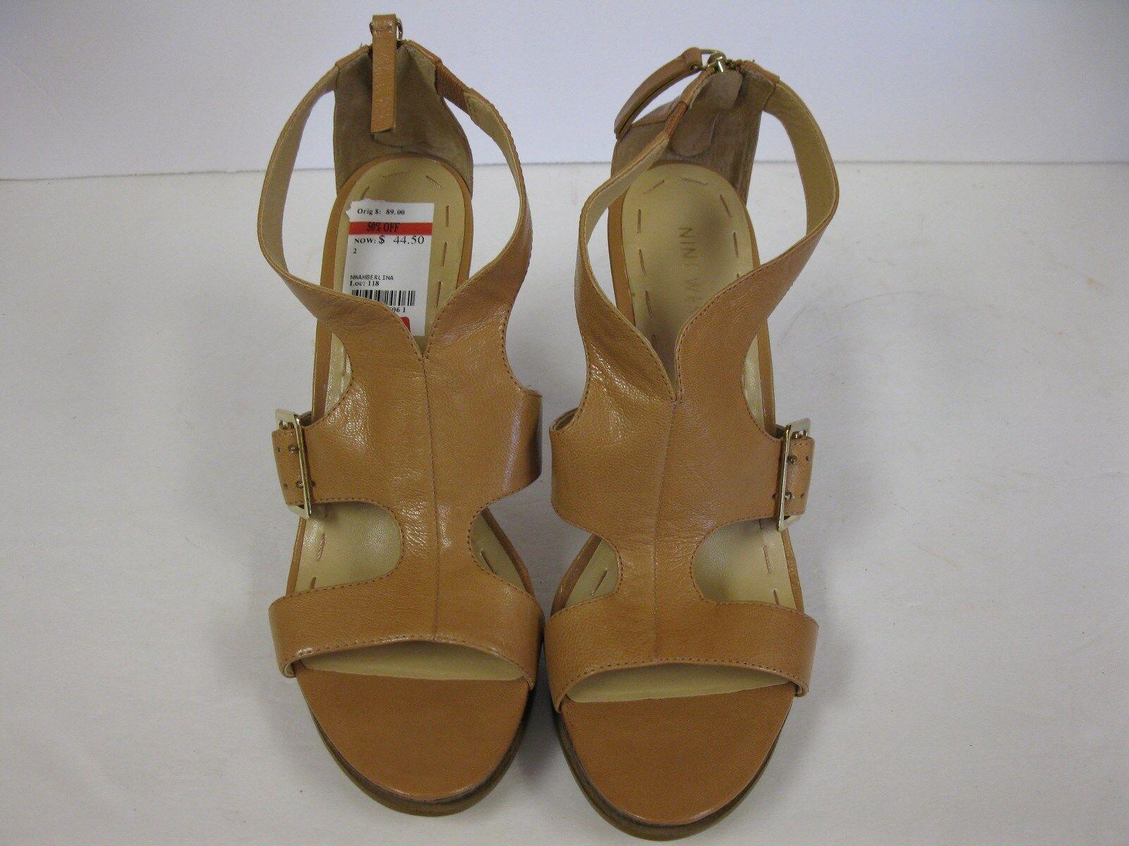 NINE Open WEST Amberlina Beige Leder Platform Heels Open NINE Toe Damenschuhe Schuhes 9.5M d76285