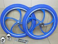 20 Bmx Bike Bicycle Blue Alloy Mag Wheel Set + Tyres + Inner Tubes + Freewheel