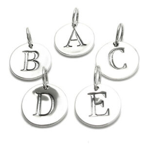 Image Is Loading 925 Sterling Silver Round Initial Charm Pendant Choose