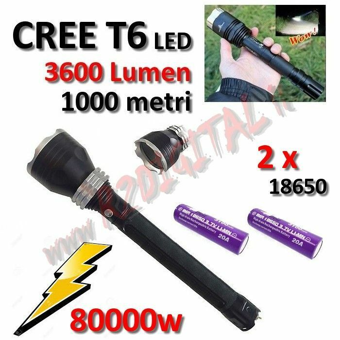 SLAMPADA TORCH POLICE XML 80000W CREE LED T6 RECHARGEABLE BATTERY POWER ZOOM