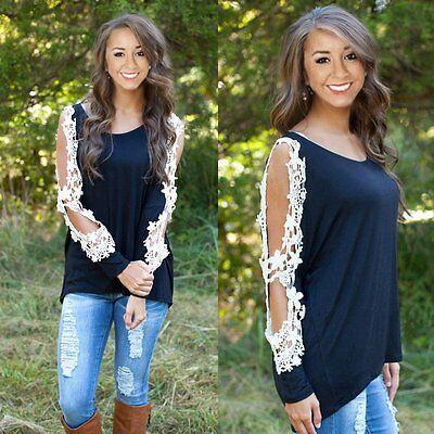 NEW Fashion Women's Loose Lace Long Sleeve Casual Shirt Tops T-Shirt Blouse