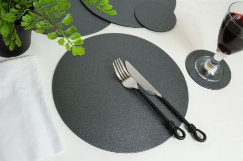 Set 8 ARTISAN PEWTER Bonded Leather ROUND PLACEMATS /& 8 COASTERS 16-Pcs UK MADE
