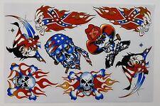 A4 Sheet Skulls Stickers/Decals Skateboard/Bikes/Quads/Scooters/BMX/Locker/Art