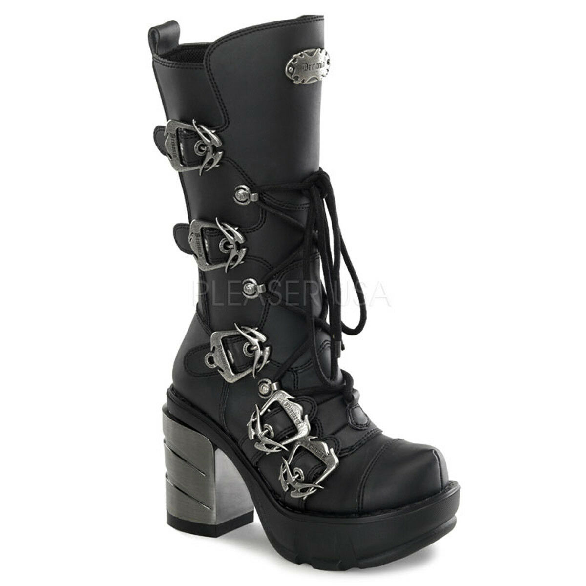 Demonia SINISTER-203 Womens Black Vegan Leather Chrome Molded Platform Knee Boot
