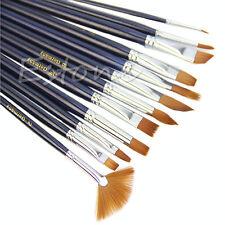 12Pcs Acrylic Oil Watercolor Painting Supplies Artist Nylon Hair Paint Brush Set