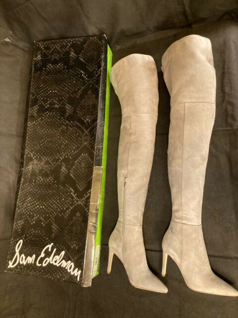 NEW Sam Edelman Bernadette Grey Suede Leather Over The Knee OTK Thigh Boots, 6 M