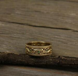0-10Ct-Round-Cut-Emerald-Eternity-Wedding-Ring-Band-14K-Yellow-Gold-Finish