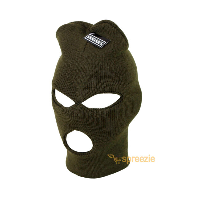 325f09759d73f Olive Green Ski Mask Beanie 3 Hole Knitted Cap Hat Warm Face Winter Snow  Unisex
