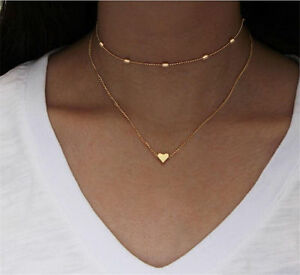 ad4c07fb02421 Details about Fashion Simple Double layers chain Heart Pendant Necklace  Choker Women Jewelry