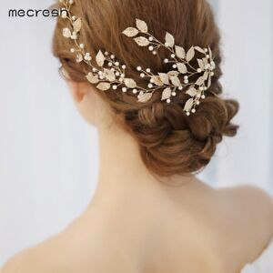 b21407d7cac05 Details about Mecresh Gold Handmade Leaf Hairpin Bridal Hairpin Wedding  Hair Jewelry for Birde