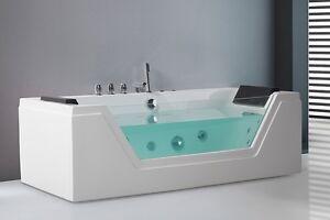 Vasca Da Bagno Angolare Economica : Whirlpool vasca da bagno indipendente con vetro luce led acqua a