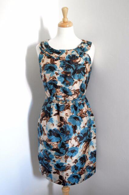 Kate Spade NEW YORK designer silk FLORAL WIGGLE DRESS 1950'S STYLE us 8 UK 12