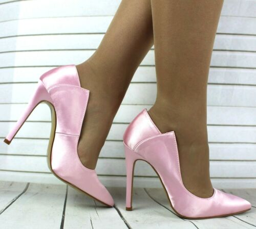 LADIES BABY PINK SATIN POINTED TOE HIGH SLIM HEEL CLOSED TOE COURT SHOES SIZES