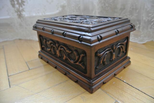 TURKISH PUZZLE MAGIC TRICK SECRET JEWELRY BOX CASE WALNUT WOOD PANDORA NO KEY!