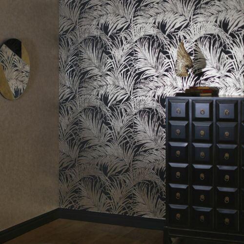 BLACK PALM LEAF WALLPAPER 903202 METALLIC ELEMENTS ARTHOUSE KISS FOIL BRONZE