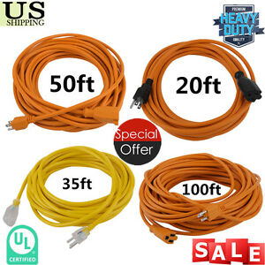 20ft 100ft Extension Cord Power Cable 3 Outlet Indoor