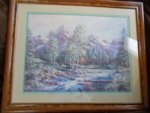 """Lee K. Parkinson - SIGNED Lithograph """"Log Cabin by the River in the Mountains"""""""