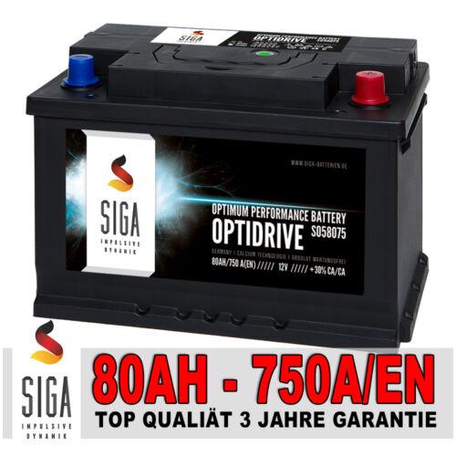 SIGA Autobatterie 12V 80AH 750A//EN Top Qualität statt 70Ah 72Ah 74Ah 75Ah 77Ah