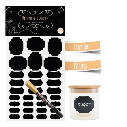 Tafelfolie Sticker 155 Stück Tafelsticker Etiketten Klebefolie selbstklebend