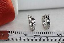 Ladies Huggie Hoop Earrings Nickel Free Sterling Silver 925 12 Clear Stones