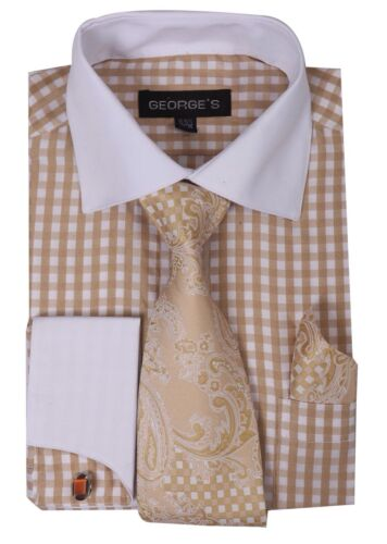 New George French cuff dress shirt with cuff links paisley design tie/&hanky A615