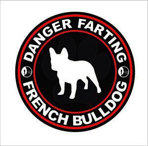Danger Farting English Bulldog Sticker Decal Vinyl dog canine pet