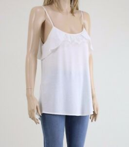 Karen-Millen-Women-039-s-White-Frill-Vest-Detail-Sleeveless-Top-Camisole-UK-10-14