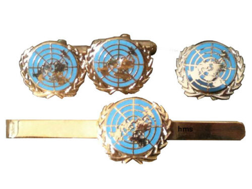 United Nations Gift Set Cufflinks Lapel Badge Tie Clip blue