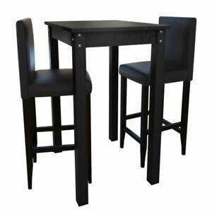 Tavolini E Sedie Da Bar.Dettagli Su Vidaxl Legno Di Pino Set Tavolino Da Bar Con 2 Sgabelli Neri Tavolo E Sedie