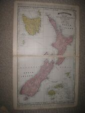 LARGE ANTIQUE 1898 NEW ZEALAND TASMANIA FIJI CHATHAM KING ISLANDS OCEANIA FINE N