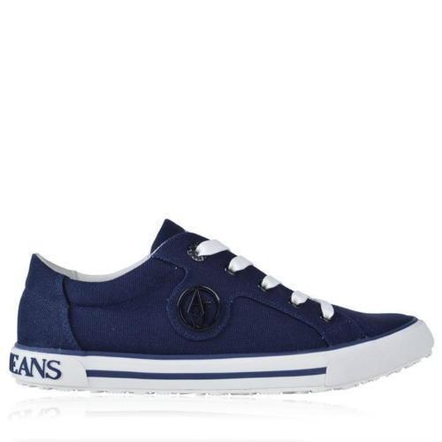 ARMANI Jeans Blu Navy Logo Tela Scarpe Da Ginnastica in Tela Logo Taglia 7 EU 40 RRP  Nuovo di Zecca 01355b