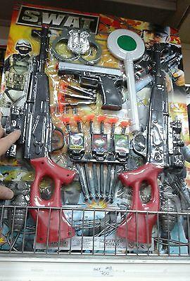 Set polizia militare 2 fucili Kit gioco di qualità giocattolo toy a35