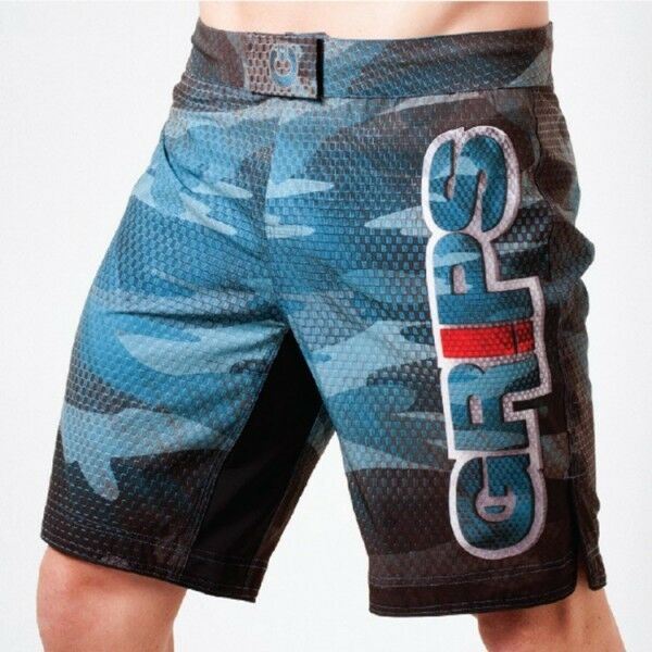 Grips Athletics Mens Carbon Army Fight Shorts - bluee