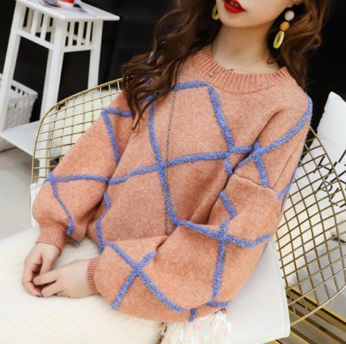 Womens Sweet Knitting Sweater Puff Sleeve Cotton Blend Loose Warm Blouse Fashion