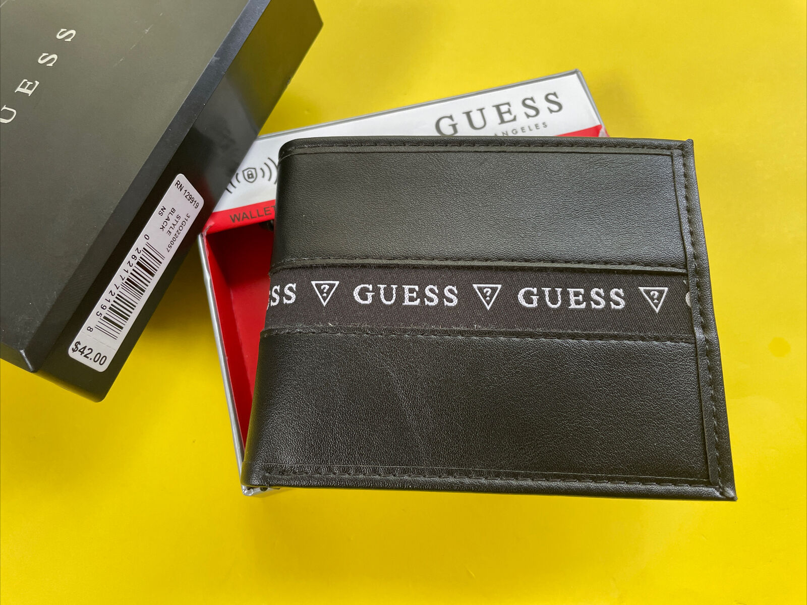 Guess Wallet Men 31GO220057 Black Trifold RFID Protection Gift Box New MSRP
