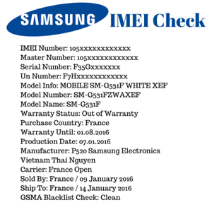 Details about SAMSUNG INFO IMEI CHECK: Manufacturer + Warranty + Sold by +  Carrier + Blacklist