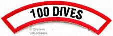 100 Dives Chevron Patch Embroidered Iron on Scuba Diving Emblem