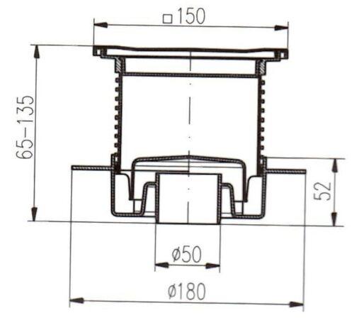 Duschablauf Badablauf Edelstahl  150x150 mm DN50 incl Dichtungsmatte 440+391//1