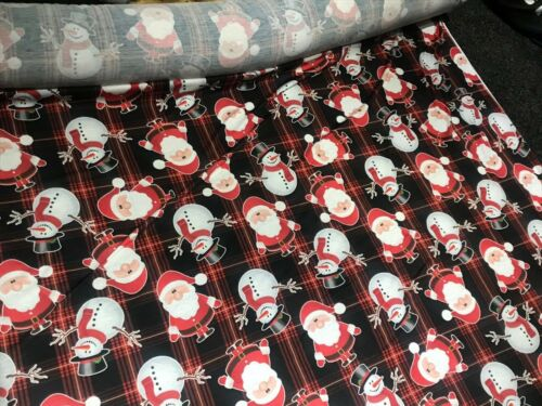Snowman Themed Christmas Xmas Print Soft Jersey Spun Polyester Fabric~FREE POST~