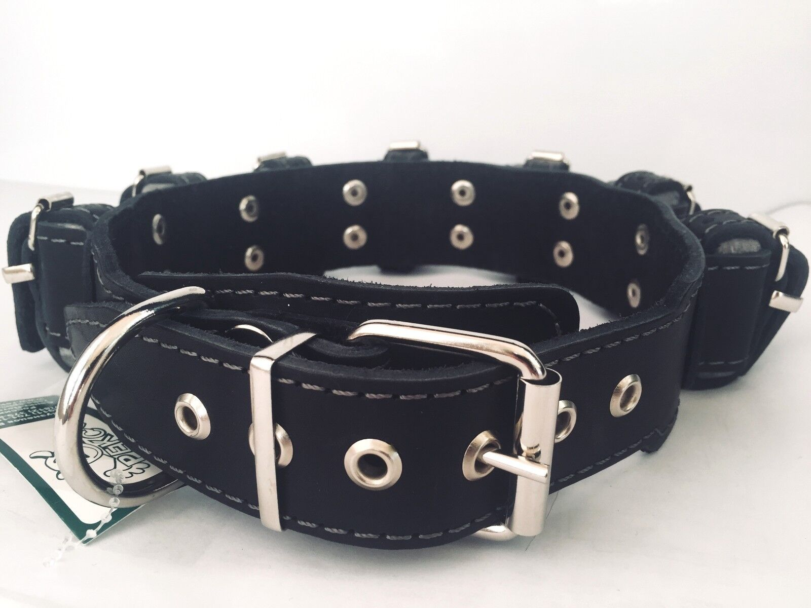 4 lbs Genuine Leather Weighted Training Dog Collar 9 weights