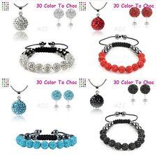 4set/lot 10mm mixed clay crystal shamballa set earring necklace pendant bracelet