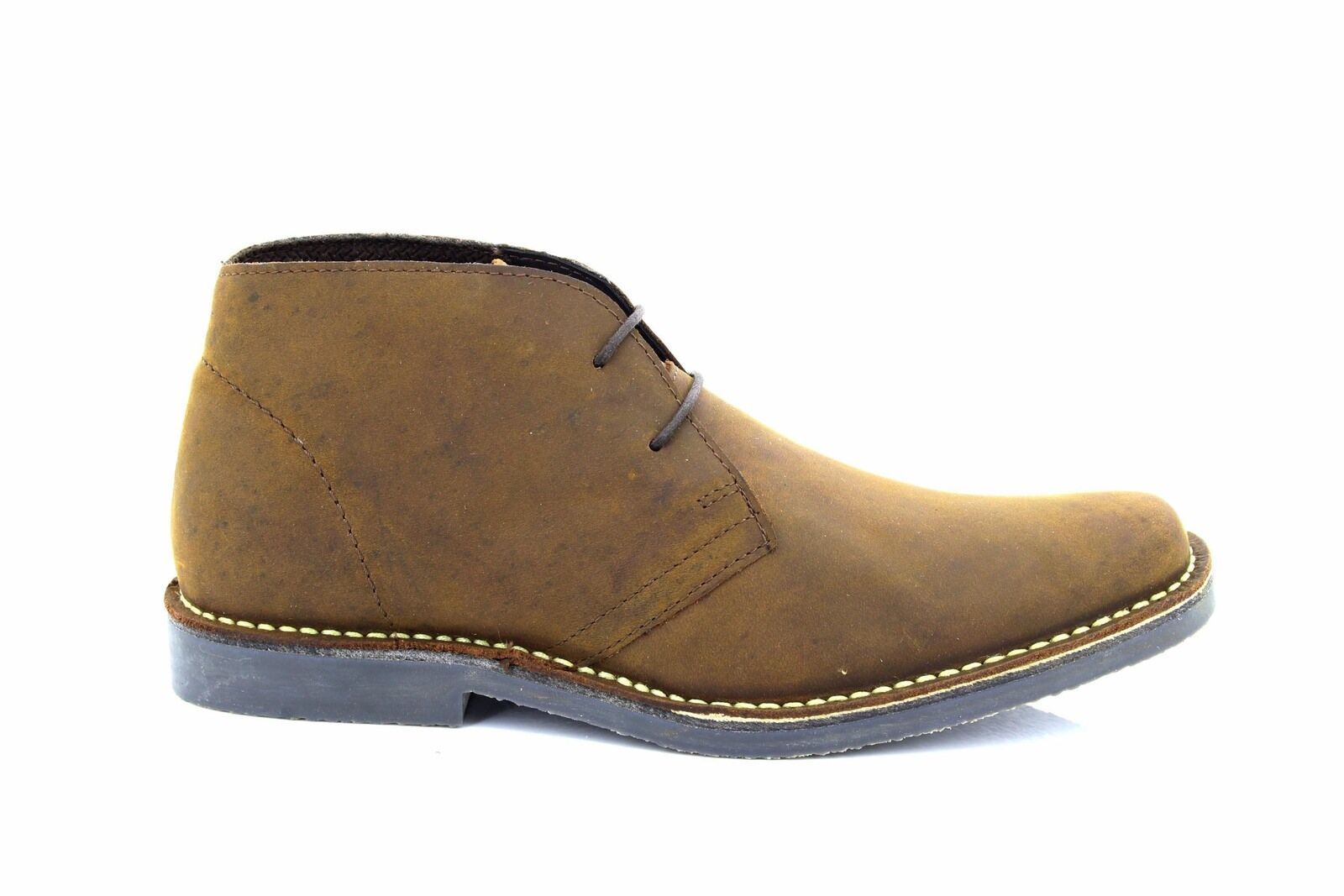 Roamers M420 Classic Casual Stitched Sole Lace Up Desert Boots Brown Pull Up Lea