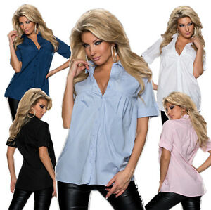 Damen-Babydoll-Bluse-Hemd-Shirt-3-4-Armel-Buero-Party-klassisch-top-M-36-38