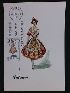 SPAIN-MK-1971-TRAJES-VALENCIA-TRACHT-COSTUME-MAXIMUMKARTE-MAXIMUM-CARD-MC-c6096
