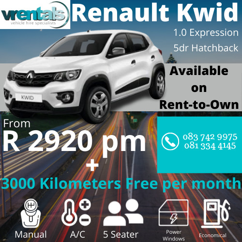 2019/2018 Renault Kwid 1.0 *NOW AVAILABLE ON RENT TO OWN* IN GAUTENG