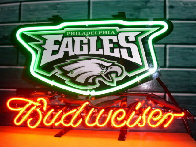 """Philadelphia Eagles Budweiser Bud Neon Light Sign 17\""""x14"""
