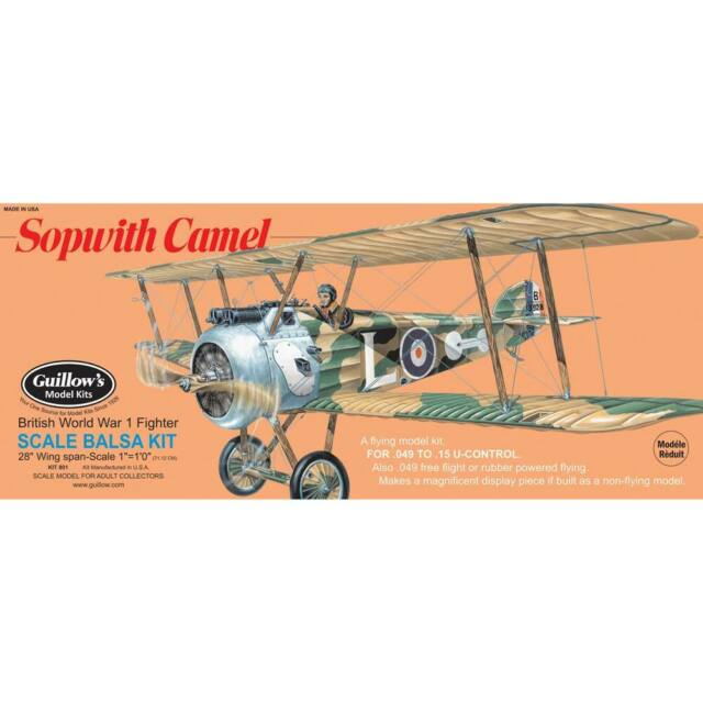 Guillows Sopwith Camel 801 Balsa Wood Model Airplane Kit Rubber Powered Ww1